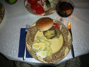 Fresh made hamburgers with potato salad...yum!!