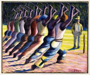 Hakkens Song oil painting by Gerhard Sekoto 1946-47, shows the white man who stands and watches the black laborers